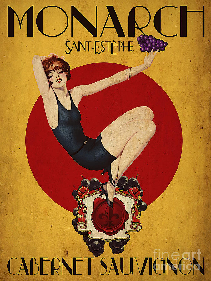 Wine Digital Art - Monarch Wine A Vintage Style Ad by Cinema Photography
