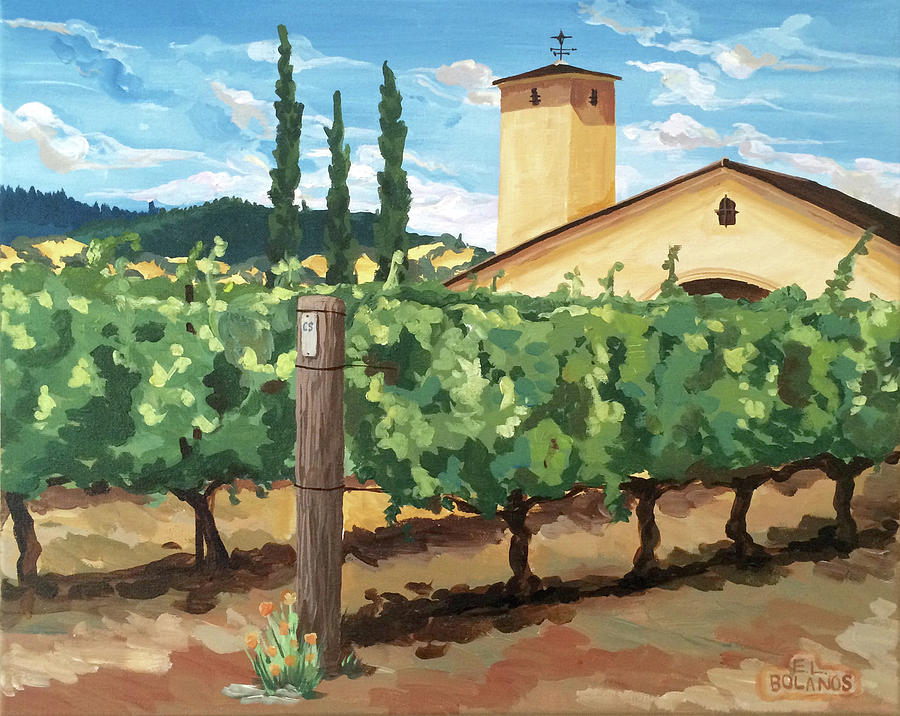 Vineyard Painting - Mondavi Vineyard, Napa by Elisa Bolanos