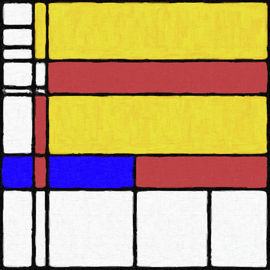 Mondrian Inspired Digital Painting 03 Digital Art by Antony McAulay