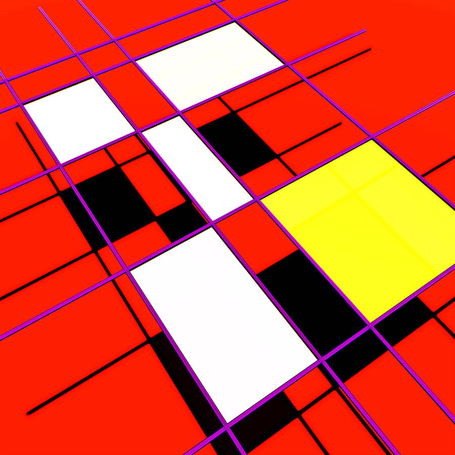 Mondrian Digital Art - Mondrian Lays A Carpet by Chas Hauxby