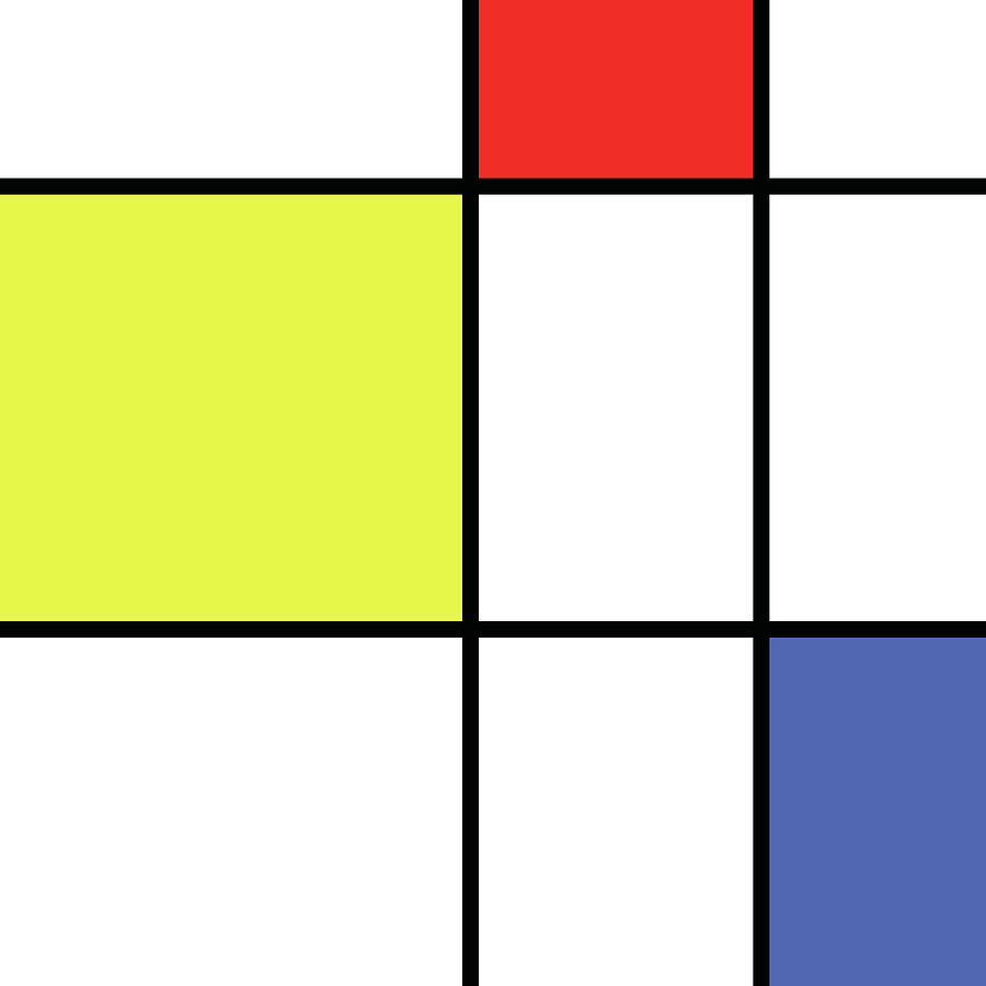 Mondrian Style Minimalist Pattern In Blue, Red And Yellow 01 Mixed ...