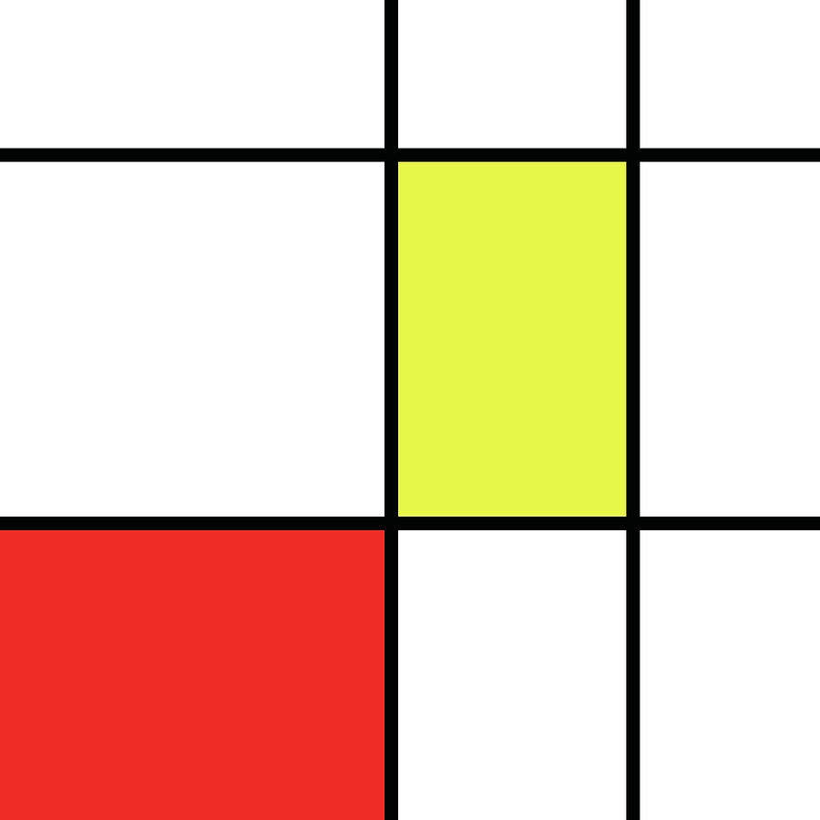 Mondrian Style Minimalist Pattern In Red And Yellow Mixed Media by ...