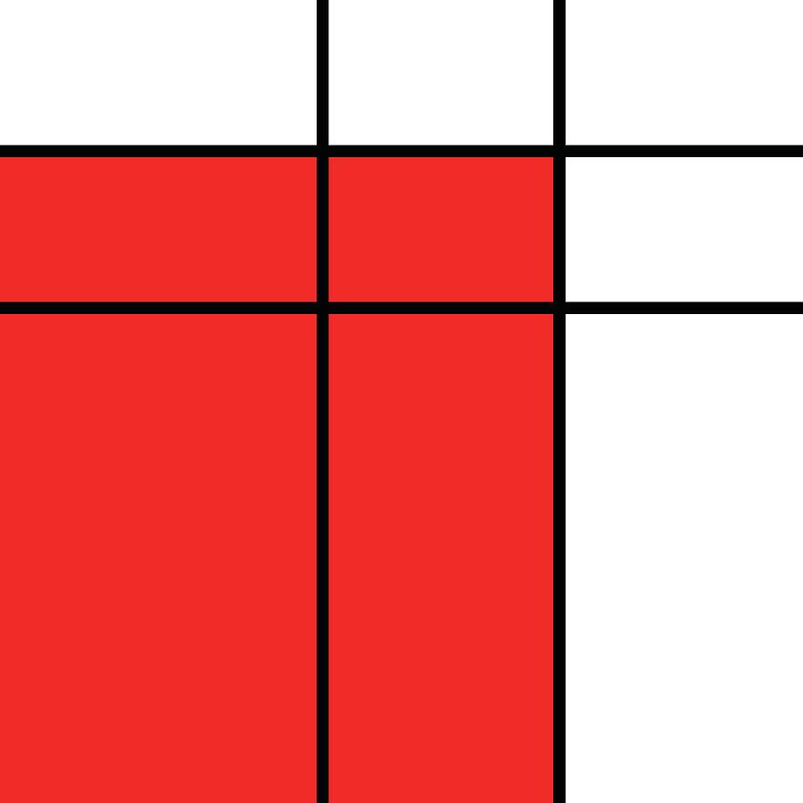 Mondrian Style Minimalist Pattern In Red Mixed Media