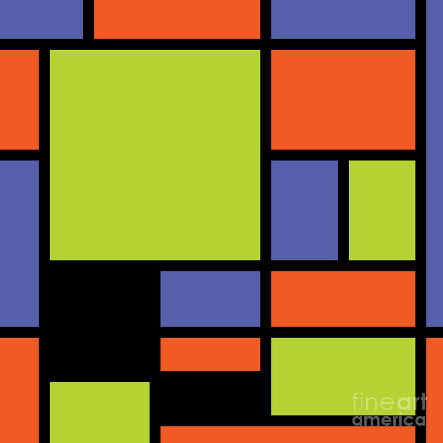 Mondrian Style Modern Cool Colors 2 Digital Art by Aapshop