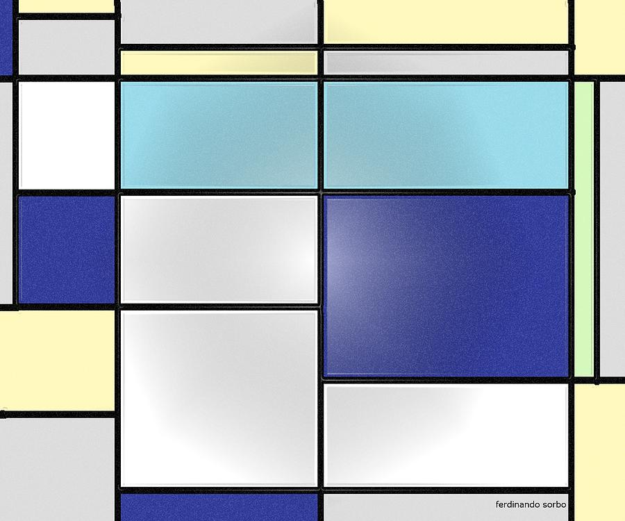 Abstract Digital Art - Mondrian Window Light by Ferdinando Sorbo