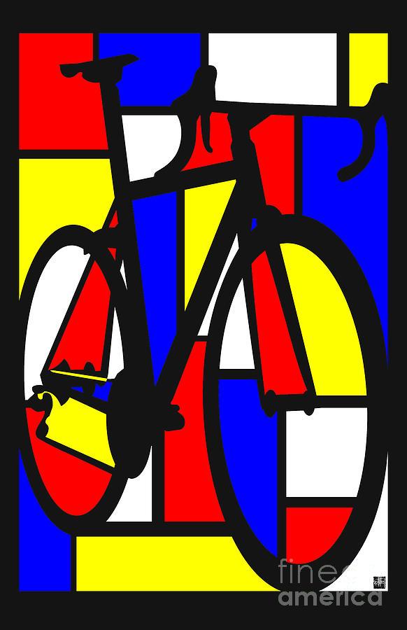 Bicycle Painting - Mondrianesque Road bike by Sassan Filsoof