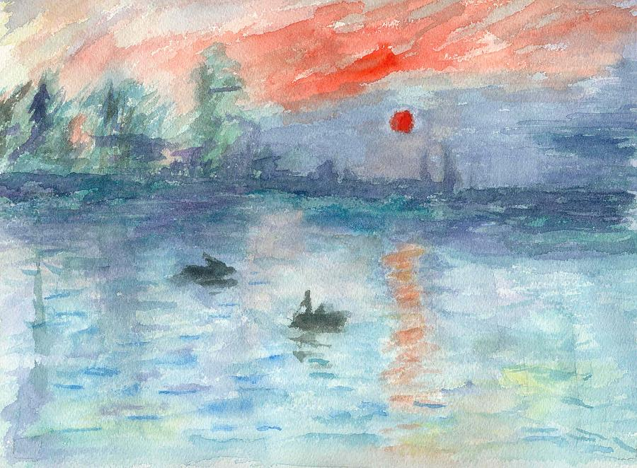 Watercolor Painting - Monet Inspired Sunrise by William Burgess