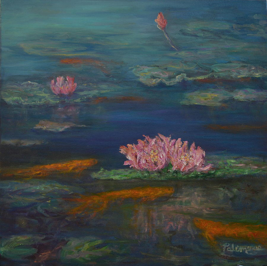 Monet Inspired Water Lilies with Gold Fish in a Pond by Amber Palomares
