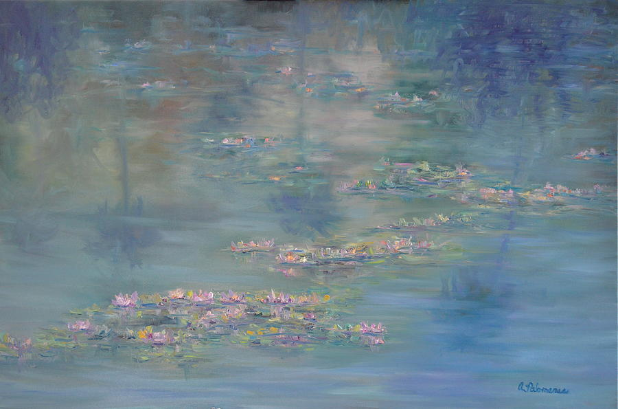 Monet Style Water Lily Peaceful Tropical Garden Painting Print by Amber Palomares