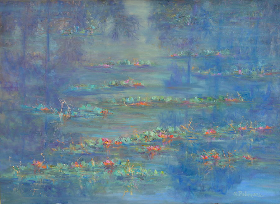 Monet Style Water Lily Pond Landscape Painting by Amber Palomares