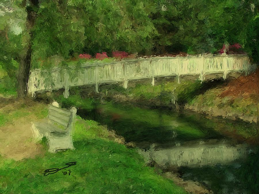 Monets Bridge Painting by Eddie Durrett