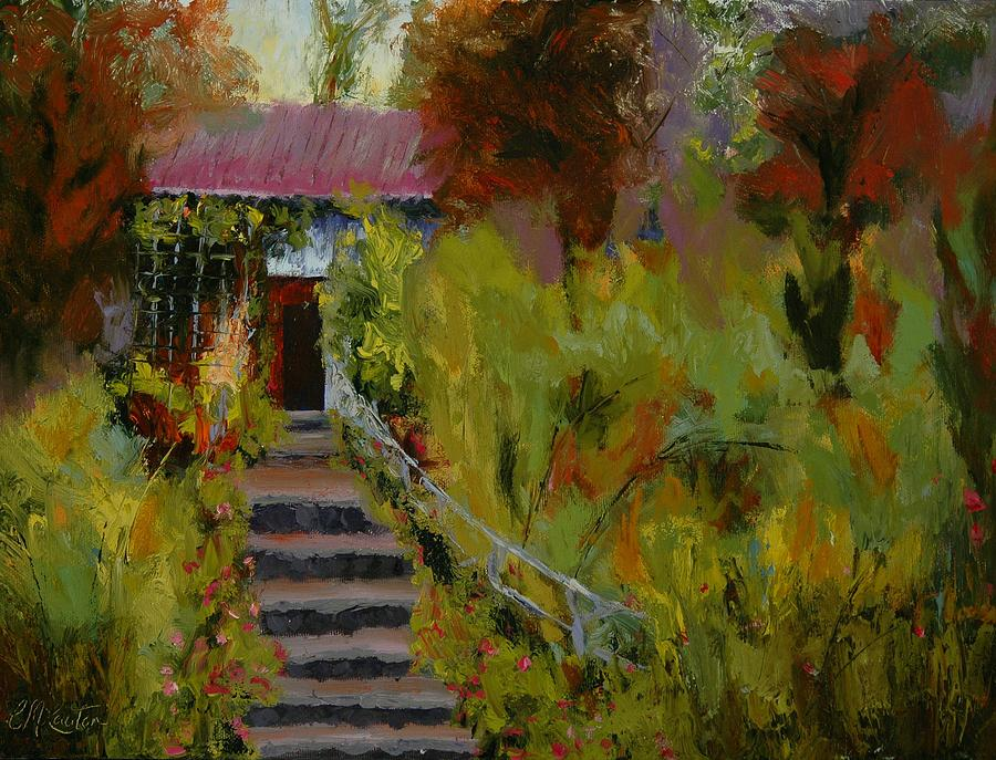 Impressionistic Painting - Monets Garden Cottage by Colleen Murphy