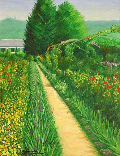 Monets Garden Painting - Monets Garden In Giverny France by Gary  Hernandez