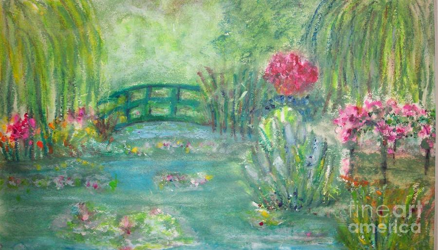 Superbe Florals Painting   Monets Garden By Sandra McClure