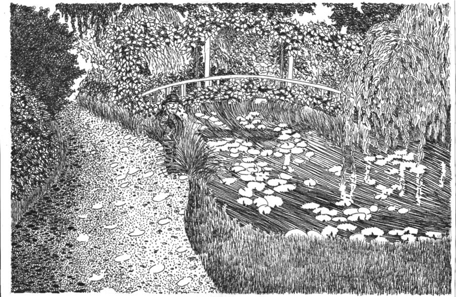 Garden Drawing - Monets Paradise by Thomas  Ferguson