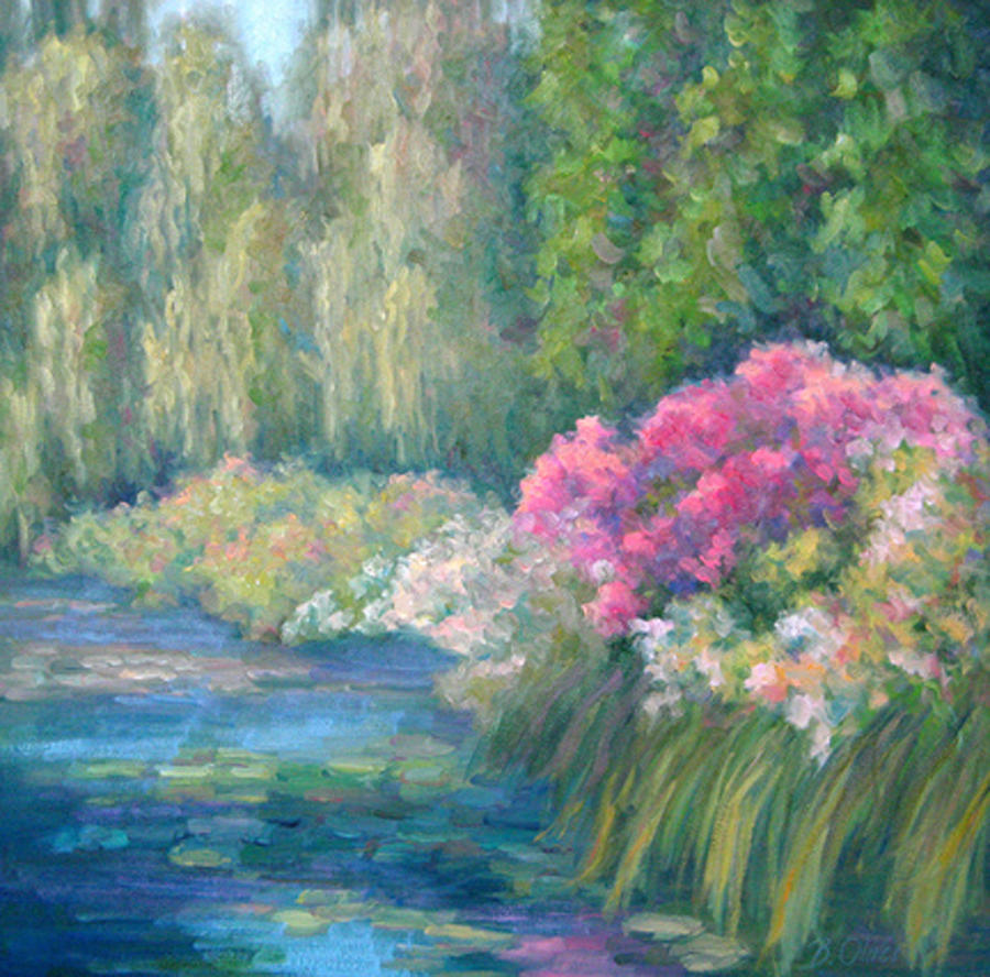 Pond Painting - Monets Pond by Bunny Oliver