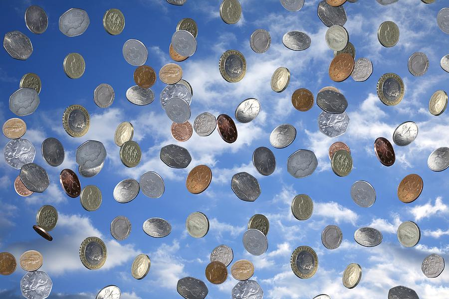 Coin Photograph - Money Shower by Victor De Schwanberg
