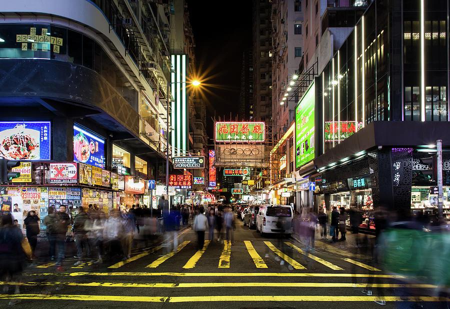 Mong Kok Crosswalk by Geoffrey Lewis