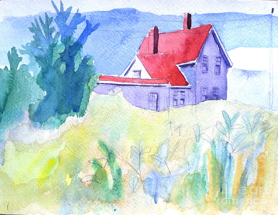Monhegan Painting - Monhegan Light And Hill by Debra Bretton Robinson