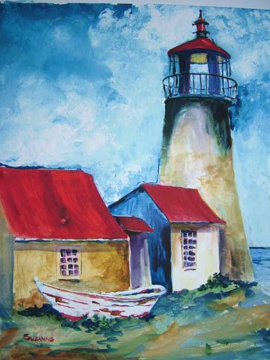 Lighthouse Painting - Monhegan Lighthouse by Suzanne Canner