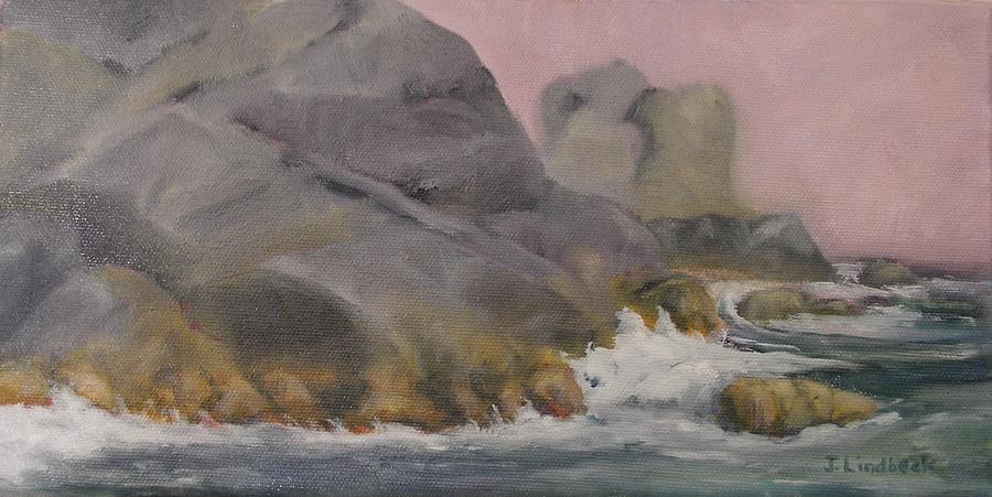 Maine Painting - Monhegan Shoreline by John Lindbeck