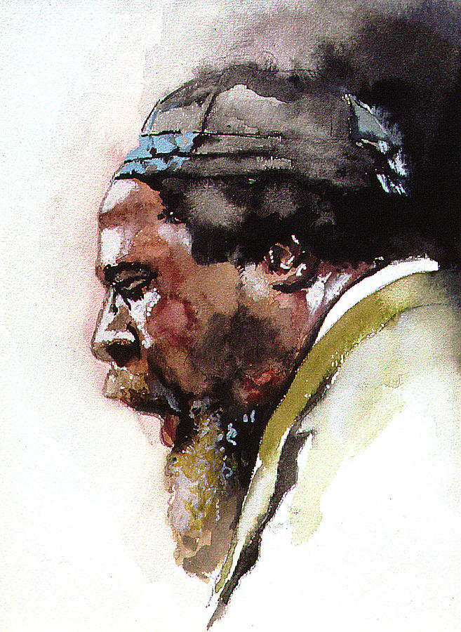 Watercolor Painting - Monk by Bryan Dechter