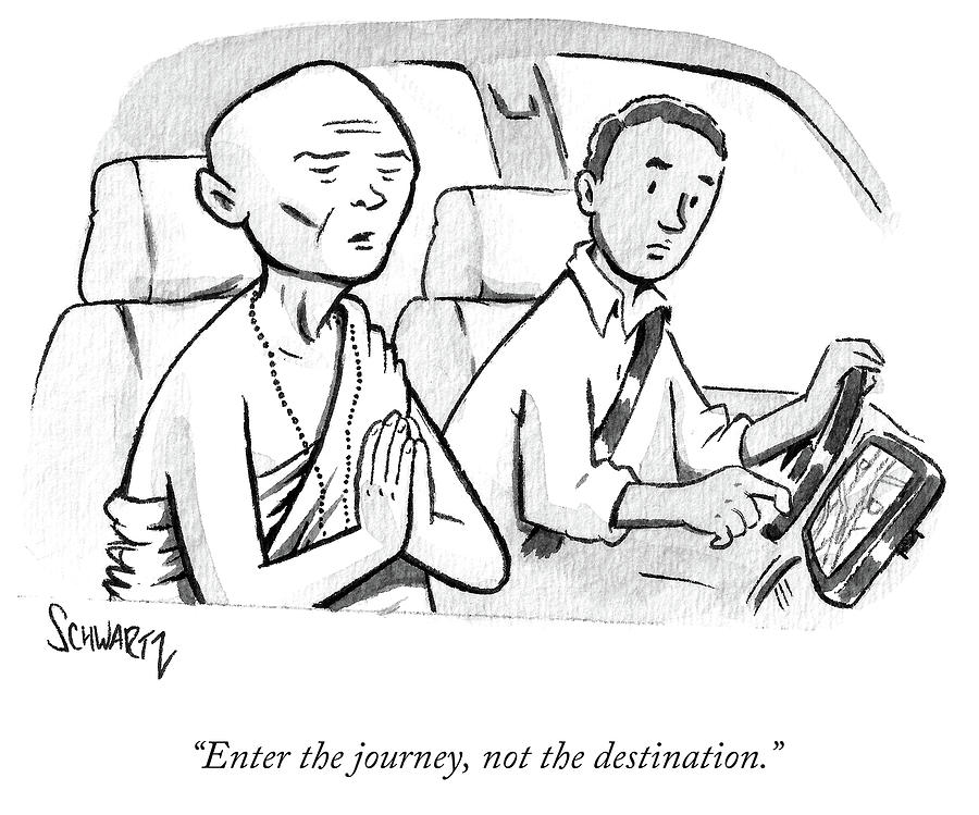Monk enters a cab with no destination. Drawing by Benjamin Schwartz