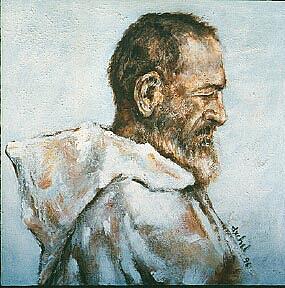 Religion Painting - Monk by Ixchel Amor