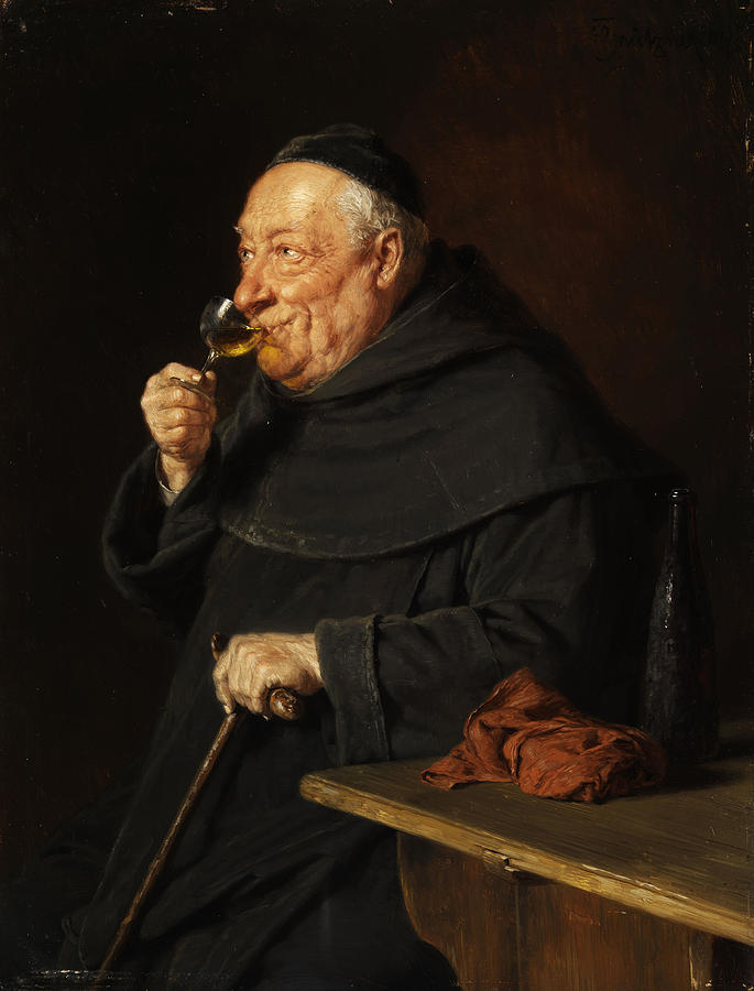 Monk Painting - Monk With A Wine by Eduard von Grutzner