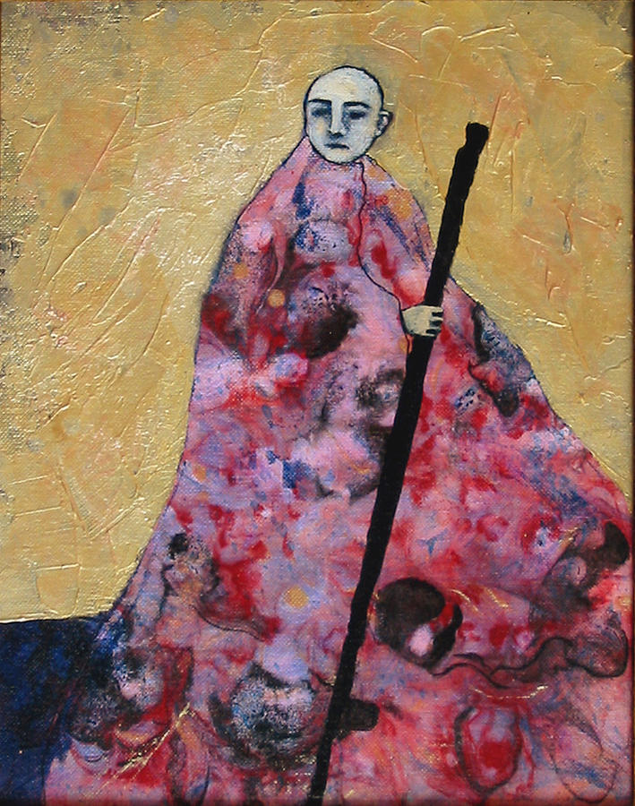 Gold Painting - Monk With Walking Stick by Pauline Lim