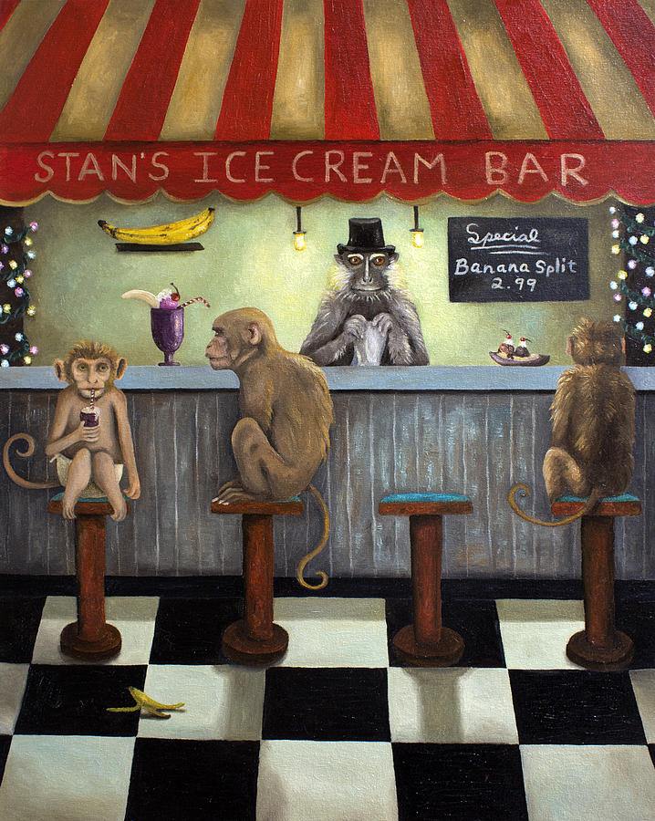 Bar Painting - Monkey Business by Leah Saulnier The Painting Maniac