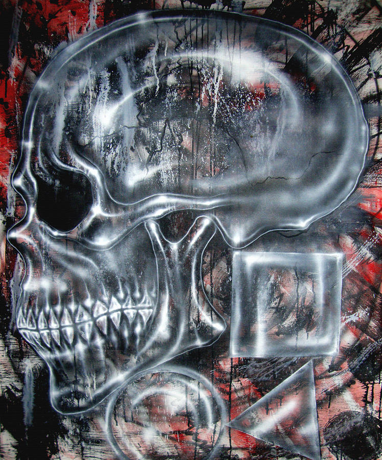 Skull Painting - Monkey Man Does Math by Leigh Odom