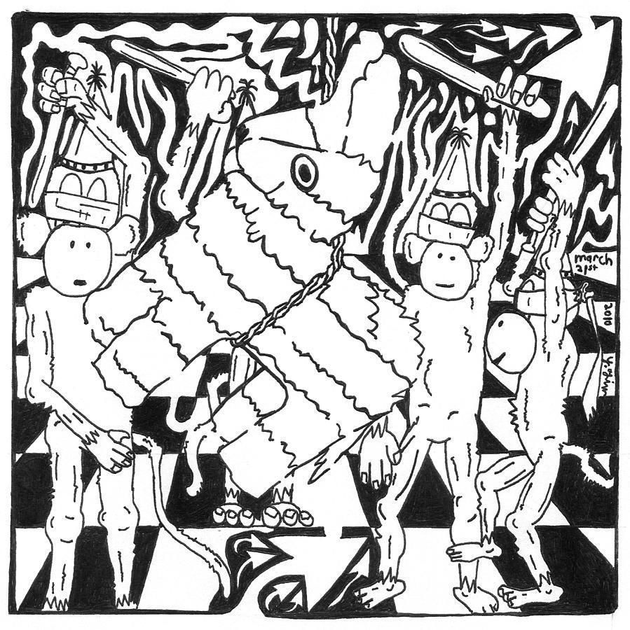 Pinata Drawing - Monkey Pinata Party by Yonatan Frimer Maze Artist