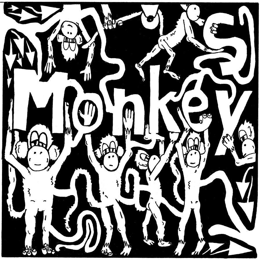 Monkey Drawing - Monkeys Maze For M by Yonatan Frimer Maze Artist