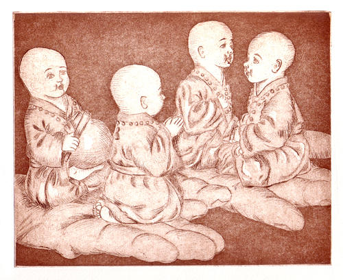 Monks Print - Monks In Hand by Veronika Nagy