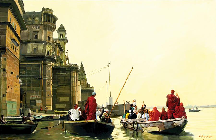 Monks In Varanasi by Dominique Amendola