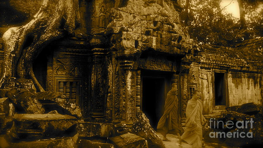 Monk Photograph - Monks Leaving Angkor Wat by Louise Fahy