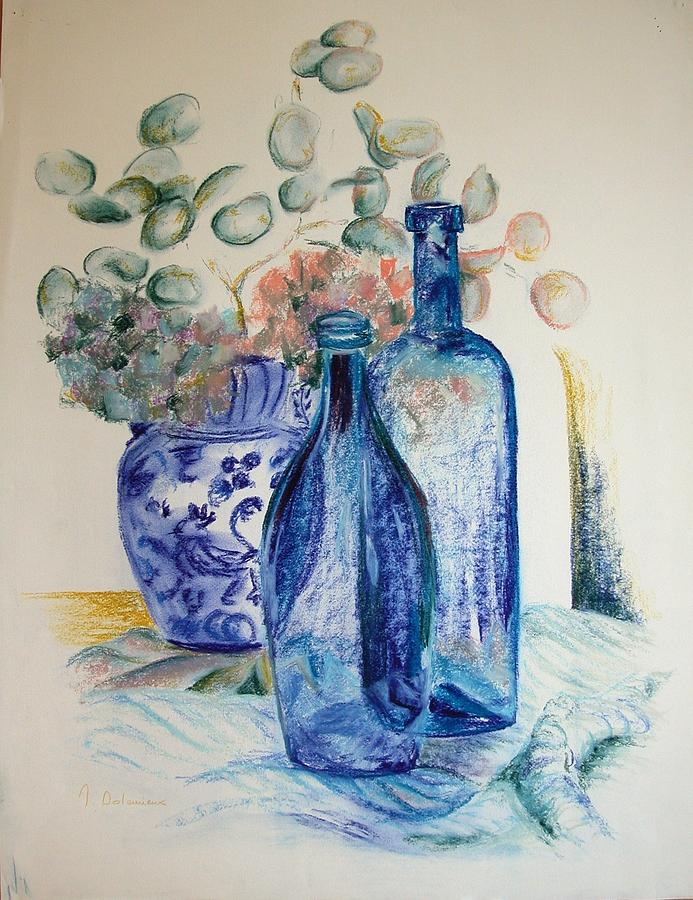 Still Life Drawing - Monnaie Bleue by Muriel Dolemieux