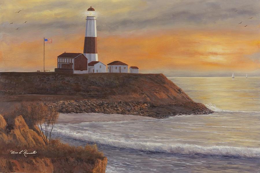 Lighthouse Painting - Monntauk Lighthouse Sunset by Diane Romanello