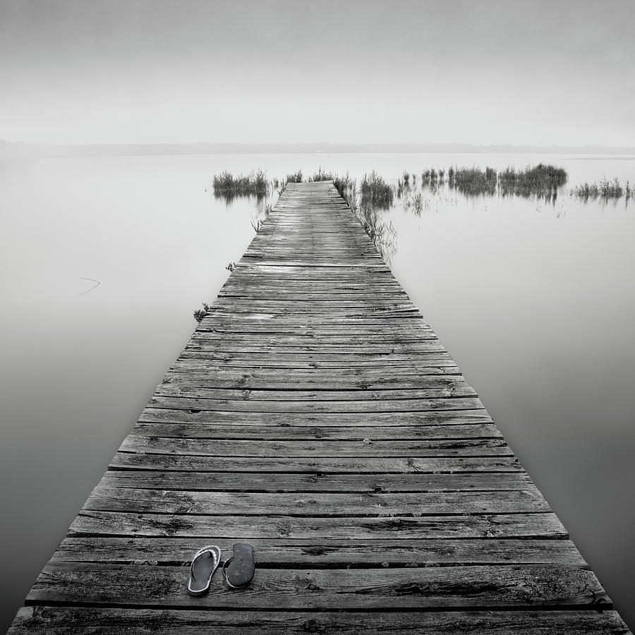 Square Photograph - Mono Jetty With Sandals by Billy Currie Photography