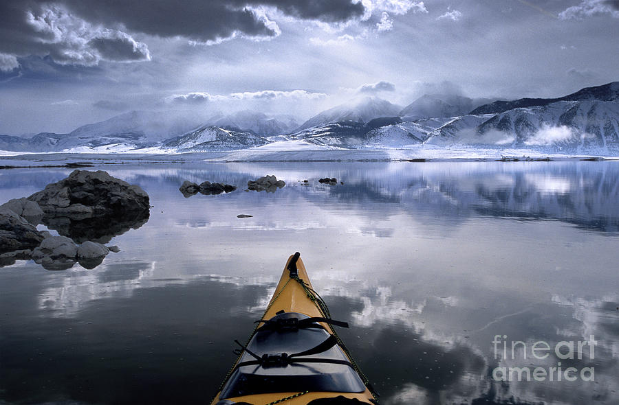 Mono Lake Photograph - Mono Lake Winter Kayak by Buck Forester