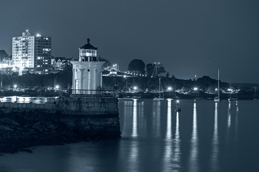 Portland Photograph - Monochrome Blue Nights Bug Light At Night Bug Light Park Portland Maine by Toby McGuire
