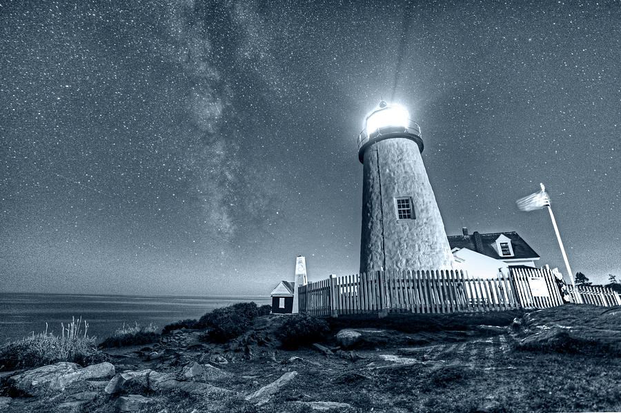 Pemaquid Photograph - Monochrome Blue Nights Pemaquid Point Lighthouse Bristol Road Maine by Toby McGuire