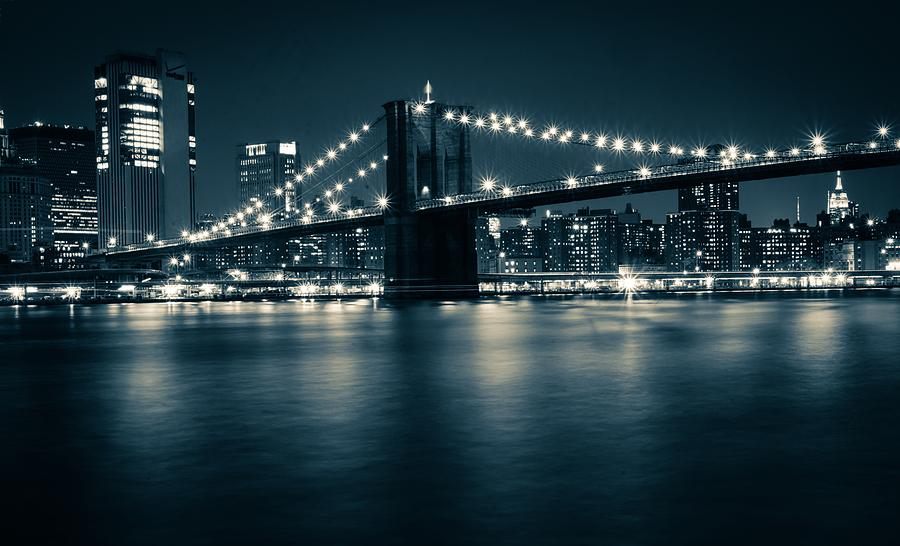 Monochrome Brooklyn Bridge  by Suguna Ganeshan
