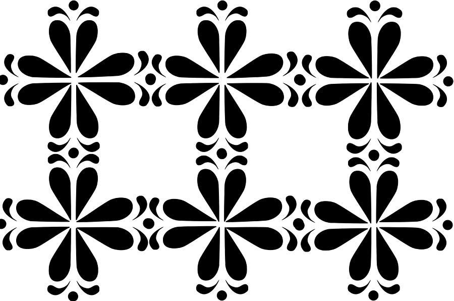 Monochrome Geometric Art Deco Flowers by Catherine Asoka Void