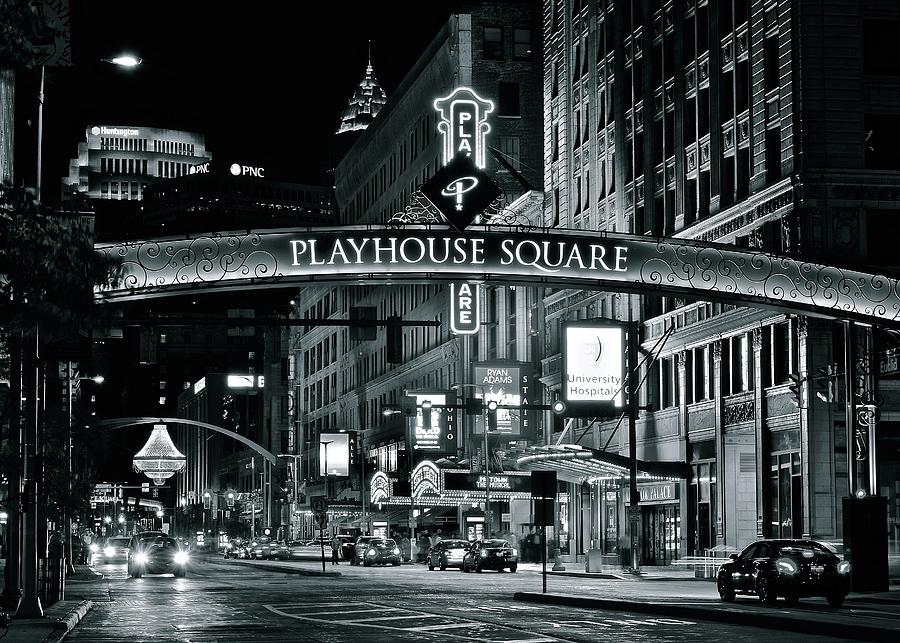 Cleveland Photograph - Monochrome Grayscale Palyhouse Square by Frozen in Time Fine Art Photography