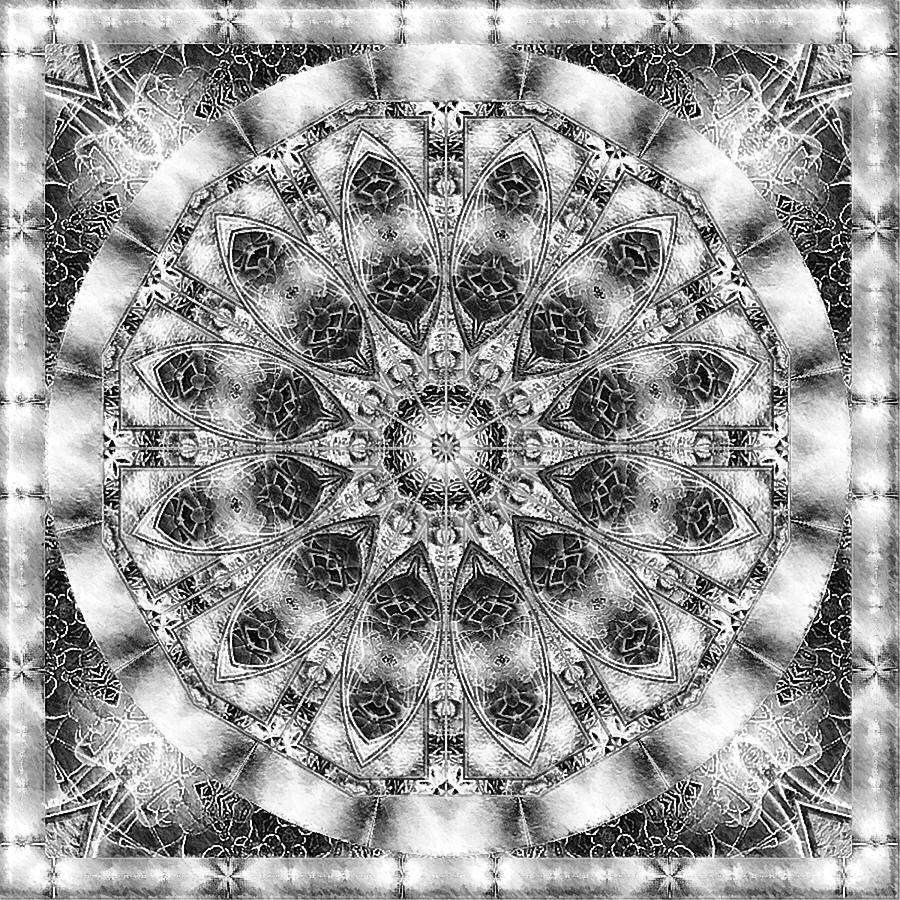 Kaleidoscope Ca: Monochrome Kaleidoscope Digital Art By Charmaine Zoe
