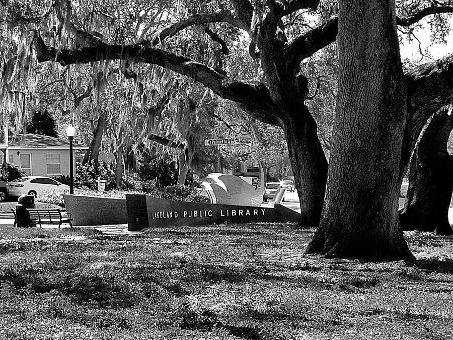 Monochrome Lakeland Public Library Sign by Chris Mercer