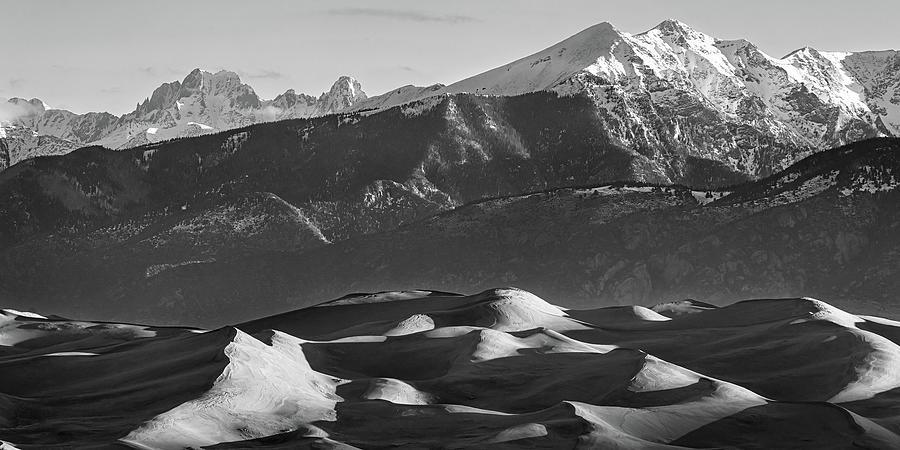 Monochrome Morning Sand Dunes And Snow Covered Peaks Photograph
