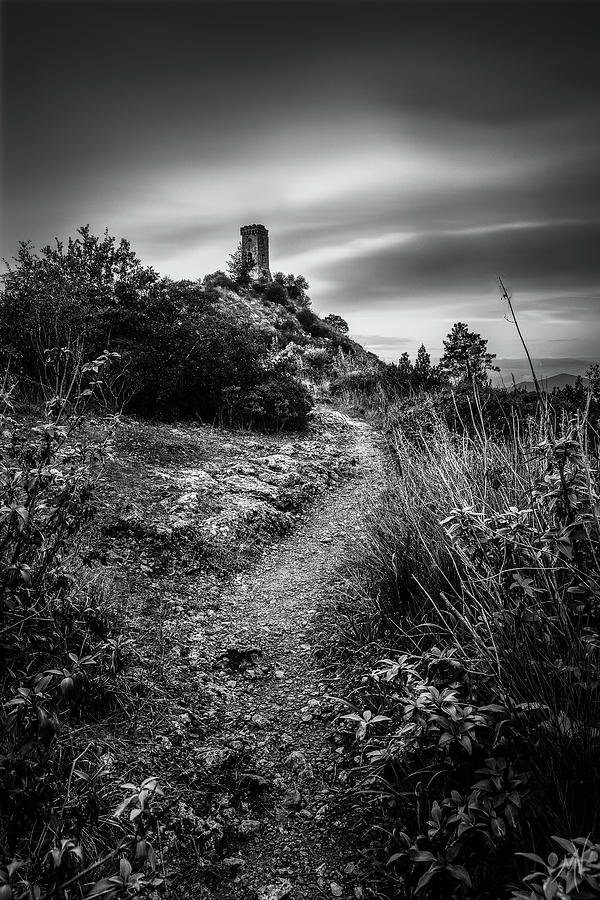 Monochrome Tower - Tower of Caprona, monochrome long exposure by Matteo Viviani